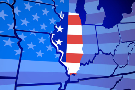 zooming: Illinois IL United States America USA Flag Map 3d Illustration