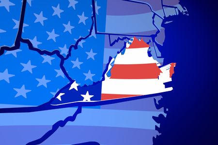 zooming: Virginia VA United States America USA Flag Map 3d Illustration Stock Photo