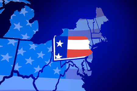 zooming: Pennsylvania USA Flag United States America Map 3d Illustration