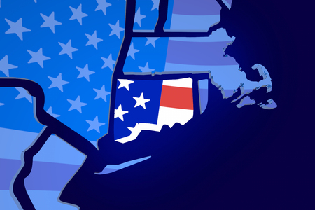 zooming: Connecticut CT USA United States America Flag Map 3d Illustration Stock Photo