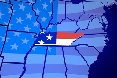 Tennessee TN USA Flag United States America 3d Illustration