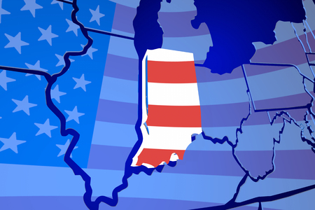 Indiana IN State Flag Karte USA Vereinigte Amerika 3d Illustration