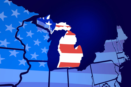 michigan flag: Michigan State Map USA United States America Flag 3d Illustration Stock Photo