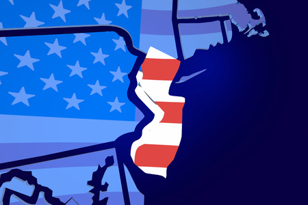 zooming: New Jersey NJ USA Flag United States America Map 3d Illustration