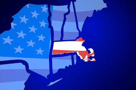 zooming: Massachusetts MA USA United States America Flag Map 3d Illustration