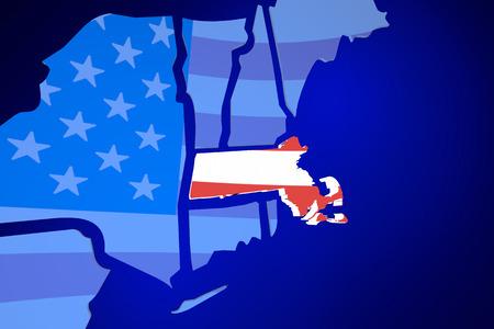 Massachusetts MA USA United States America Flag Map 3d Illustration