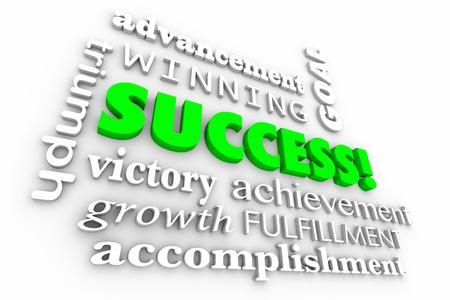 성공 목표 승자 단어 콜라주 3d 일러스트 달성 스톡 콘텐츠