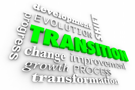 Transition Change Evolution Process Word Collage 3d Illustration