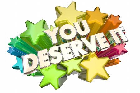 treats: Usted lo merece ganar el reconocimiento Rewards Stars La Ilustración 3d Foto de archivo