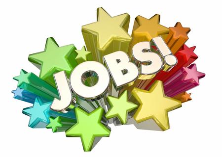 positions: Jobs Career Hiring Positions Word Stars 3d Illustration