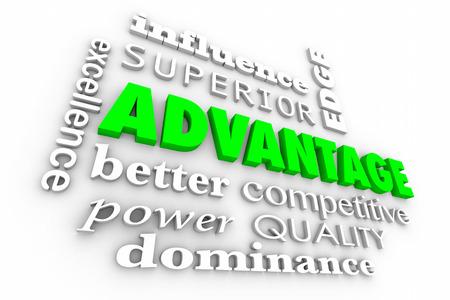 advantage: Advantage Competitive Edge Best Words Collage 3d Illustration