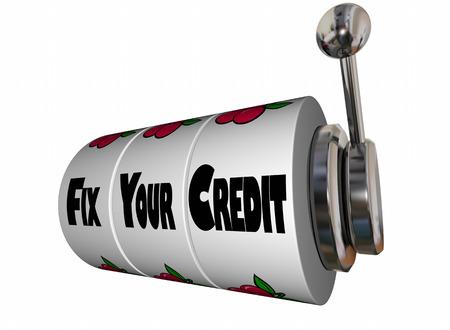 financial advice: Fix Your Credit Rating Score Slot Machine 3d Illustration