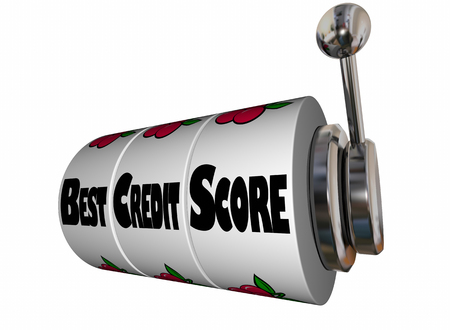 borrowing: Best Credit Score Rating Slot Machine Wheels 3d Illustration