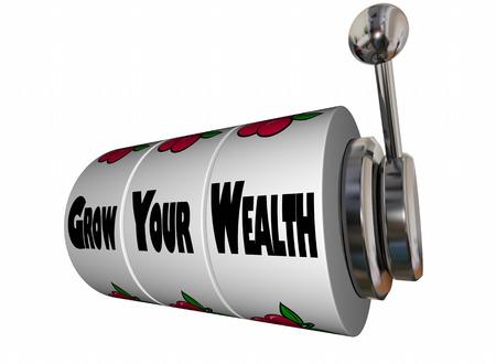 earn: Grow Your Wealth Earn More Money Slot Machine 3d Illustration Stock Photo