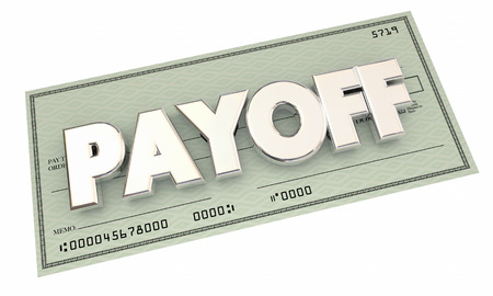 settled: Payoff Check Money Final Last Payment 3d Illustration