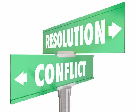 conflicto: Conflicto Vs Resolución 2 bidireccionales carretera Señales de tráfico 3d ilustración Foto de archivo