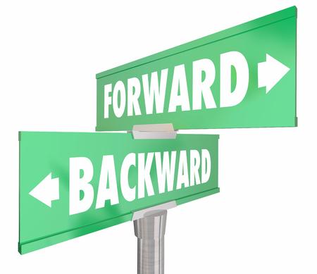 2 way: Forward Vs Backward Two Way 2 Road Signs 3d Illustration