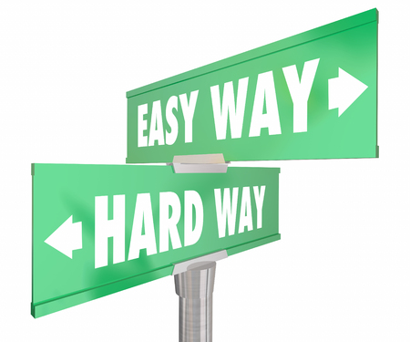 street signs: Easy Vs Hard Way Road Signs Two 2 Way 3d Illustration