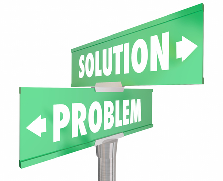 repaired: Problem Vs Solution Two 2 Way Street Road Signs 3d Illustration