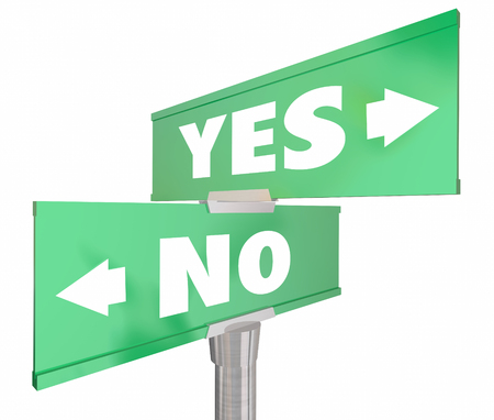 denial: Yes Vs No Two 2 Way Road Sign Words 3d Illustration
