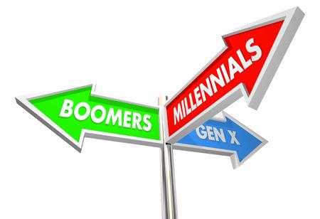 Millennials Geration X Baby Boomers Road Signs 3d Illustration Foto de archivo