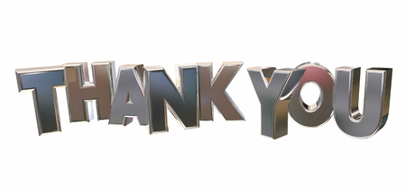 acknowledgment: Thank You Appreciation Recognition Word Letters 3d Illustration