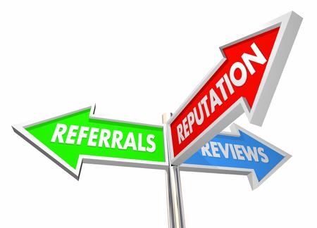 referidos: Comentarios referencias Reputación crecimiento de negocios 3d ilustración