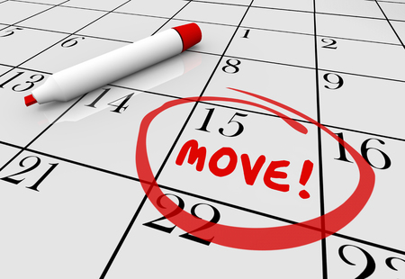 shifting: Move Date Day Moving Relocation Calendar Word Circled 3d Illustration