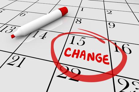 updating: Change Day Date Major Shift Different Plan Calendar 3d Illustration