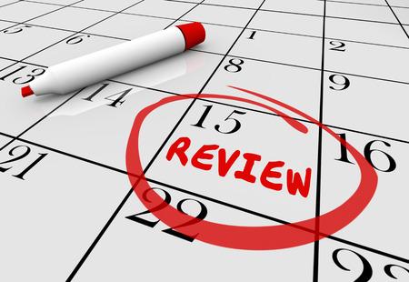 judgement day: Review Evaluation Assessment Feedback Day Date Calendar 3d Illustration