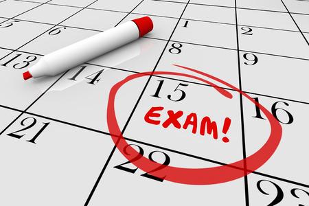 rotulador: La prueba del examen final de la escuela física Chequeo Médico Calendario Ilustración 3d