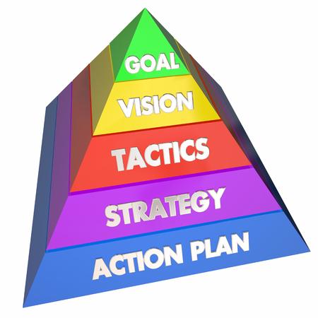 tactics: Goal Vision Strategy Tactics Action Plan Pyramid 3d Illustration