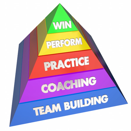 Team Building Coaching Practice Performance Win Pyramid 3d Illustration
