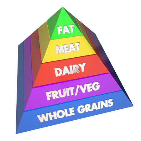 diet food: Food Group Pyramid Healthy Eating Diet 3d Illustration Stock Photo