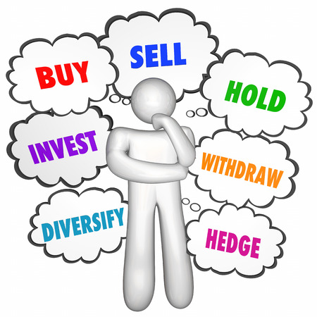 decide: Buy Sell Hold Investments Thinker Thought Clouds 3d Illustration