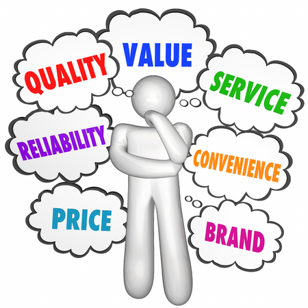 comparing: Quality Value Service Best Product Company Thinker Thought Clouds 3d Illustration Stock Photo