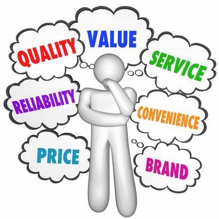 pensador: Relación calidad de servicio Mejor Producto Compañía pensador pensamiento nubes 3d ilustración Foto de archivo