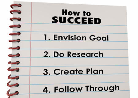 how: How to Succeed Plan Research Follow Through 3d Illustration