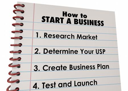 起動開始ビジネス会社にどのように 3 d の図のリスト