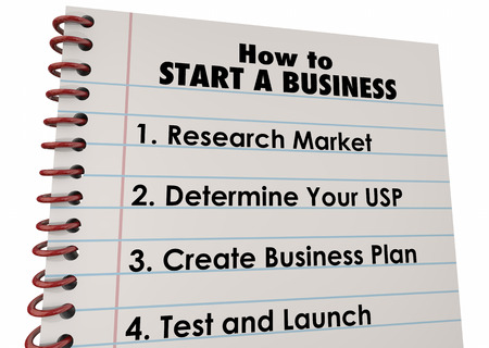 advantages: How to Start Business Company Launch List 3d Illustration Stock Photo
