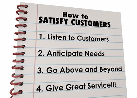 Hoe maak je klanten tevreden te stellen lijst instructies 3d Illustratie