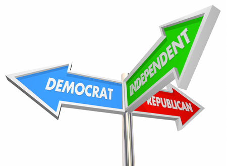 Democrat Republican Independent Three Signs 3d Illustration 版權商用圖片 - 64815636