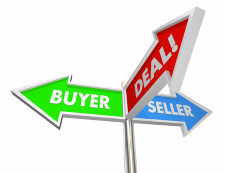 a sign: Buyer Seller Negotiate Deal Sold Customer Signs 3d Illustration Stock Photo