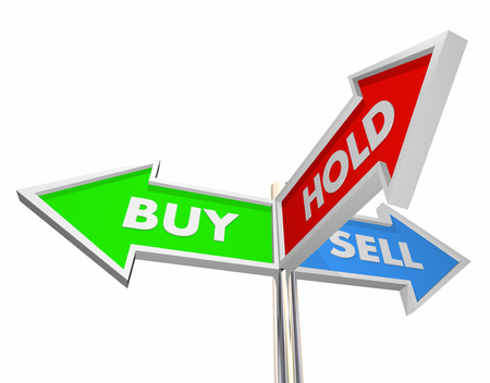 brokerage: Buy Sell Hold Stocks Investment Decision Signs 3d Illustration