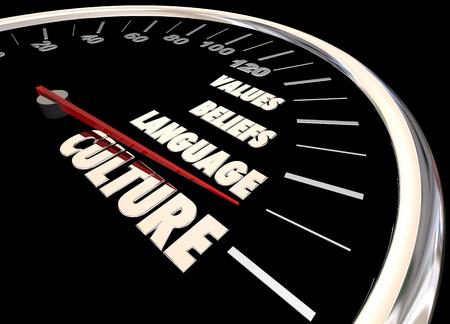 beliefs: Culture Language Beliefs Values Diversity Speedometer 3d Illustration
