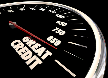 borrowing money: Great Credit Score Report Improve Increase Speedometer 3d Illustration Stock Photo