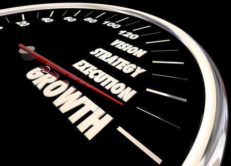 execution: Growth Vision Strategy Execution Speedometer 3d Animation