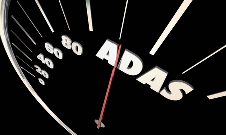 vehicle track: ADAS Advanced Driver Assistance Systems Speedometer 3d Illustration