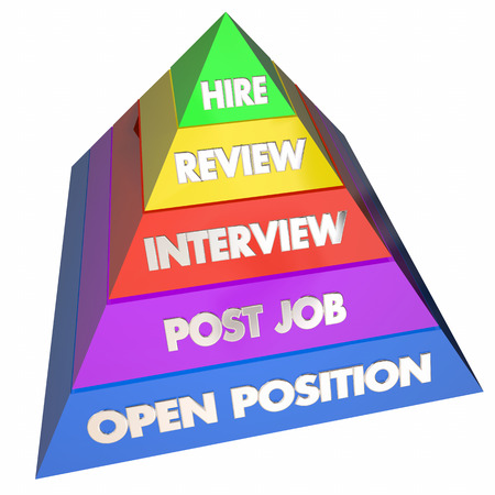applicant: Hire Interview Job Open Position Steps Pyramid 3d Illustration Stock Photo
