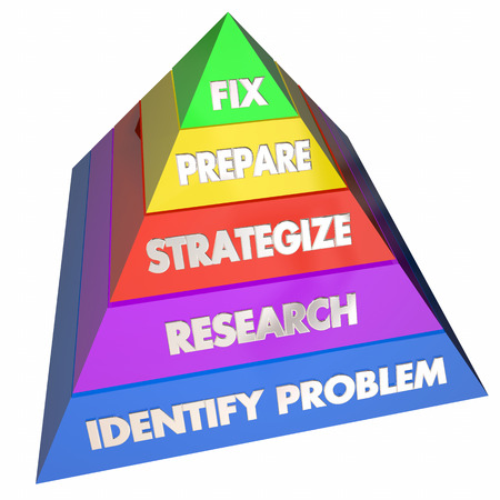Fix Solve Problem Repair Issue Steps Pyramid 3d Illustration Imagens